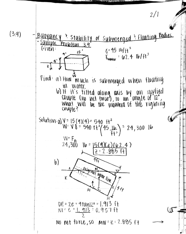 cegr 3143 lecture 6 3 9 4 6 buoyancy stability of submerged PED Diagram you re reading a preview