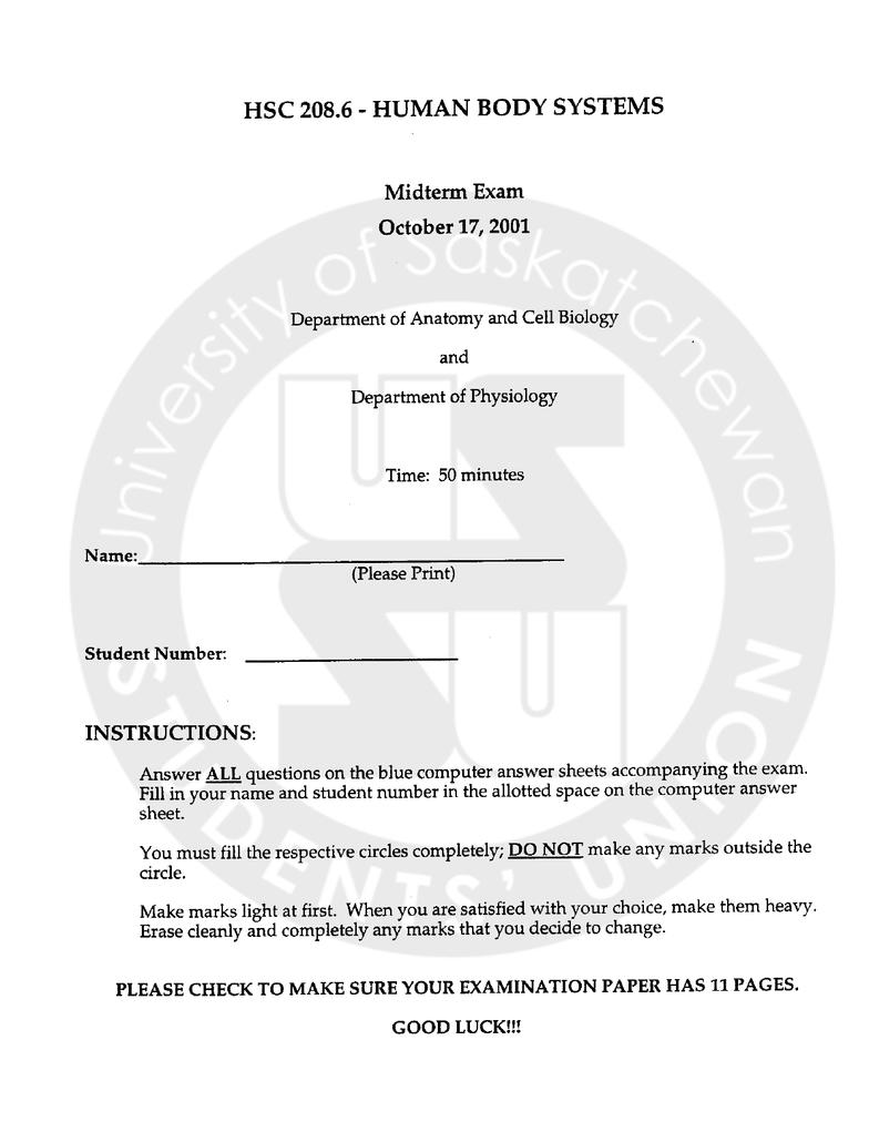 PHSI 208 midterm #1 - OneClass