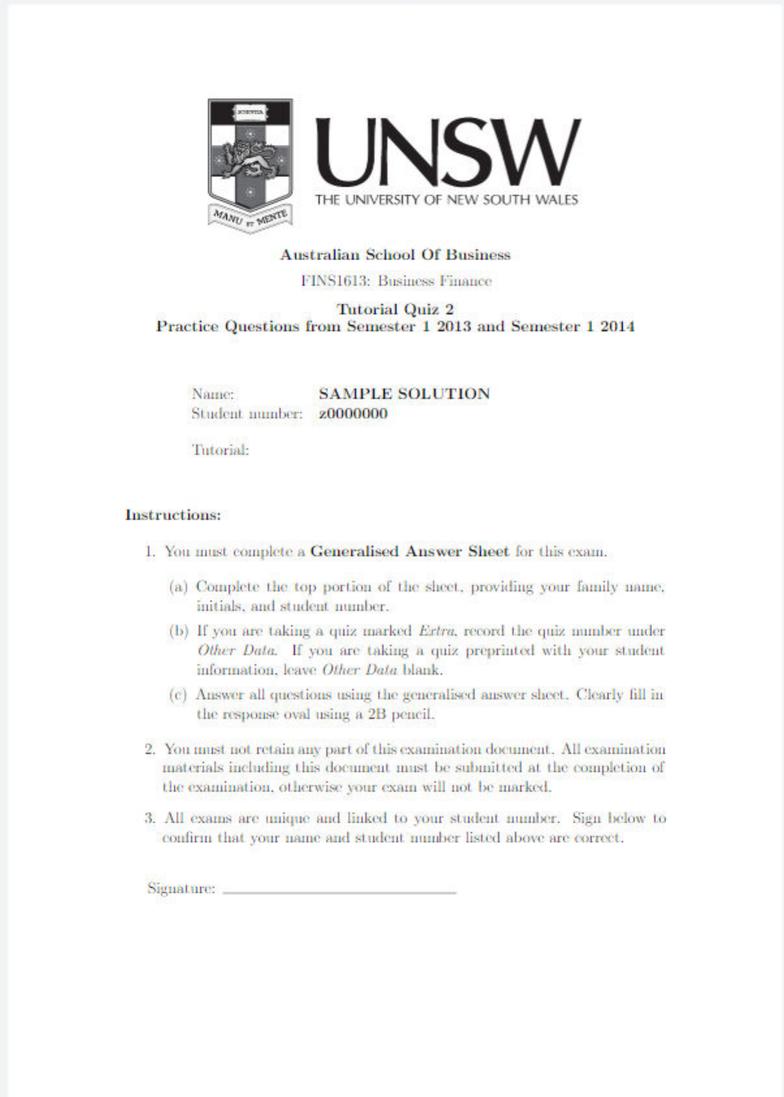 FINS1613 Final: Study Guide Exam