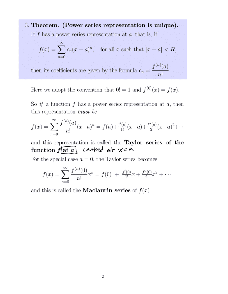 MATH 152 Lecture 1: 11 10 Taylor and Maclaurin Series