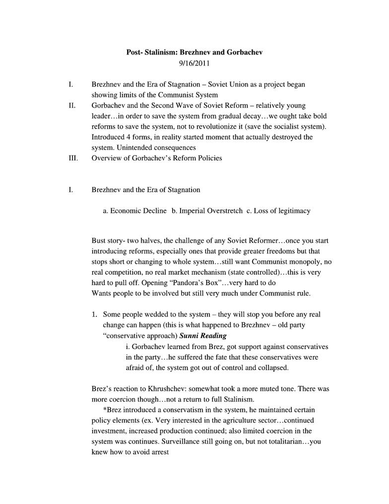 GOV 336M Lecture Notes - Fall 2012, - Yuri Andropov, Real