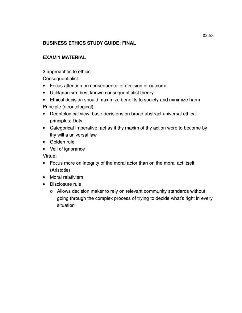 business ethics exam